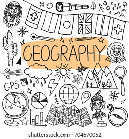 Hand drawn doodles for geography lessons. Vector back to school illustration.
