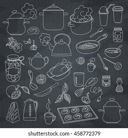 Hand drawn doodles objects food and utensils. Seamless texture.