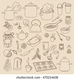 Hand drawn doodles objects food and utensils.
