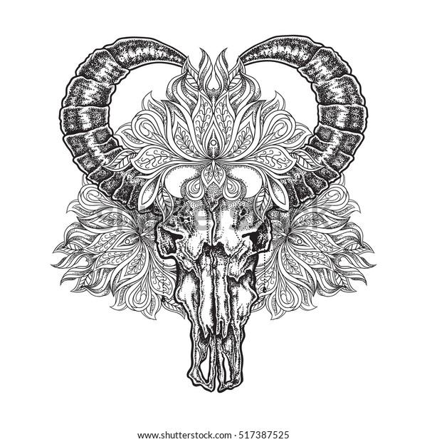 Hand Drawn Dot Work Tattoo Buffalo Stock Vector Royalty Free 517387525