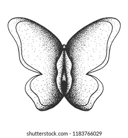 Hand Drawn Dot Work Vector Illustration. Concept logo: Butterfly with a body in the form of a vagina