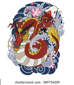 Japanese Old Dragon Tattoo Style Peony Stock Vector Royalty Free