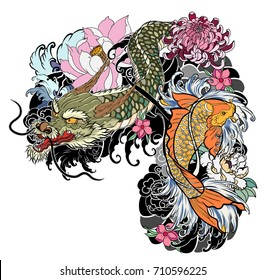 hand drawn Dragon and koi fish with flower tattoo for Arm,Japanese carp line drawing coloring book vector image.Dragon and koi fish fighting and water splash.doodle art and zentangle style