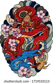 hand drawn Dragon tattoo ,coloring book japanese style.Japanese old dragon for tattoo. Traditional Asian tattoo the old dragon vector.