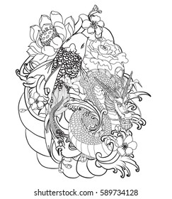 Hand Drawn Outline Koi Fish Tattoo Stock Vector Royalty Free