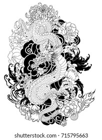 hand drawn Dragon tattoo ,coloring book japanese style.Japanese old dragon for tattoo. Traditional Asian tattoo the old dragon vector.Hand drawn zentangle style Chinese dragon and sketch for tattoo