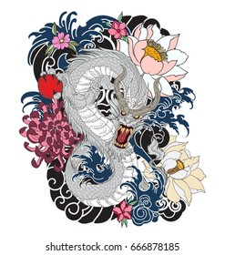 hand drawn Dragon tattoo design ,coloring book japanese style
