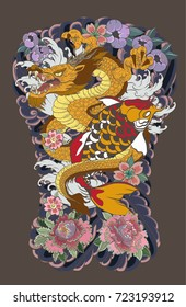 hand drawn Dragon tattoo,coloring book japanese style.Tattoo design full back body.The Dragon and koi carp fish with water splash and peony flower,cherry blossom,peach blossom on cloud background.