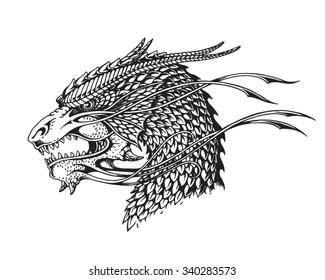 Hand drawn dragon. Vector illustration