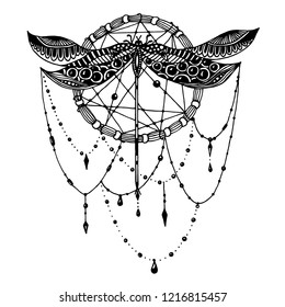 Hand drawn dragonfly in dreamcatcher in ornate doodle style with beads. Black and white illustration. Stylized animal insect for tattoo, t-shirt, poster, invitation card, textile or paper print.