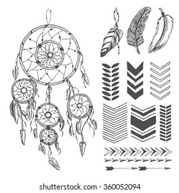 Hand drawn dream catcher with arrows and feathers