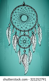 Hand drawn dream catcher with ornamental feathers on grunge green background. Sketch vector illustration for tattoos or t-shirt print.