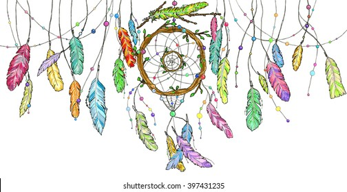 Hand drawn dream catcher from tree branches decorated with beads and with ornamental bright colorful feathers swinging in the wind. Watercolor sketch illustration for print or tattoo