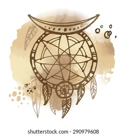 Hand drawn dreamcatcher on the watercolor background. Hippie style.