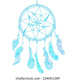 Hand drawn dreamcatcher on white. Zentangle. Feathers. Abstract mystic symbol. Zen art. Design for spiritual relaxation for adults. Line art creation. Doodle for banners, posters and textiles