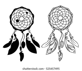 Hand drawn dreamcatchers with beads and feathers. Decorative boho style elements for design. Native american ethnic tribal talisman. Vector art
