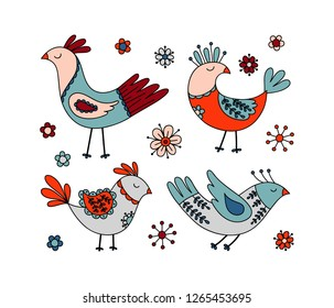 hand drawn dreaming birds and flowers vector elements. Scandinavian folk art style. Hugge illustration for greeting cards, nursery poster, fabric, wrapping and wall paper.
