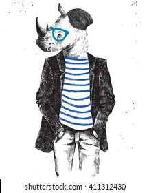 Hand drawn dressed up hipster rhino - vector illustration