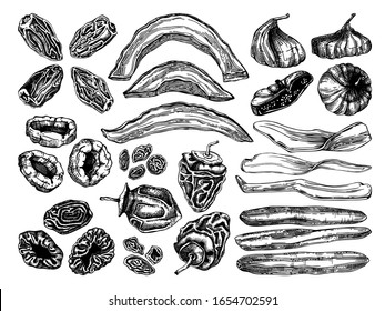 Hand drawn dried fruits sketches. Vintage dehydrated fruits and berries in engraved style. Healthy food dessert - dried mango, melon, fig, apricot, banana, persimmon, date, prune, raisin illustrations