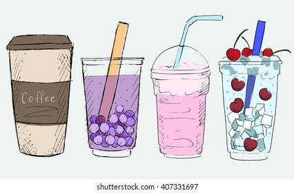 Hand drawn drinks vector. Coffee, bubble tea, milk cocktail, soda
