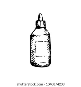 Hand drawn dropper bottle for medical or cosmetic fluid, drops, oil. Sketched mock-up of package.