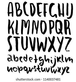Hand drawn dry brush lettering. Grunge style alphabet. Simple font. Vector illustration.