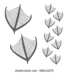 hand drawn duck steps. Design vector illustration