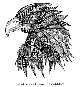Hand drawn Eagle head zentangle stylized