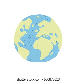 Hand drawn earth isolated on white background. Flat planet Earth icon. Vector illustration.