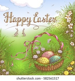 Hand Drawn  Easter Basket with Holiday eggs in the grass near Bunnies. Happy Easter Greeting Card. Vector sketch.