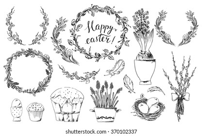 Hand drawn easter design elements set. Easter wreath, easter willow bouquet, pot of hyacinths, bird nest, easter eggs, easter cake, bird feathers. Happy easter hand lettering.