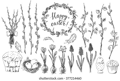 Hand drawn easter design elements set. Easter wreath, easter willow bouquet, branches, grape hyacinths, bird nest, easter eggs, easter cake, bird feathers. Happy easter hand lettering.