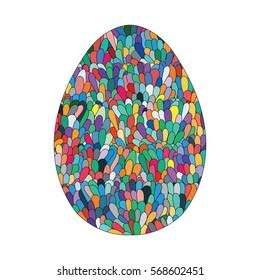 Hand drawn easter egg design with colorful doodle pattern like mosaic in bright colors. Design elements for card, poster, souvenirs. Cute Doodle style Easter Egg. Stock vector