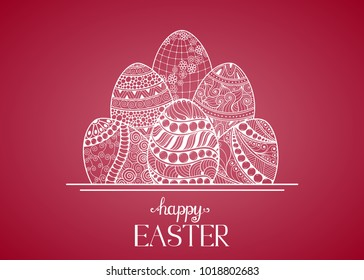 Hand drawn easter eggs composition for greeting card design, Happy Ester lettering.