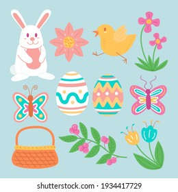 Hand drawn easter element collection Vector illustration.