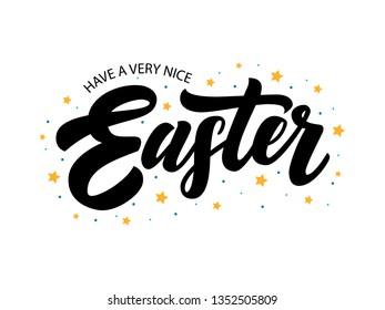 Hand drawn Easter lettering typography with stars and dots for Paschal poster, logotype, icon or badge on white background. Ressurection sunday banner, postcard, card text, template, season greetings
