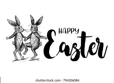 Hand drawn Easter rabbits dancing, vector