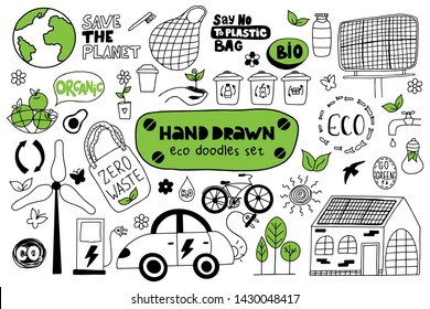 Hand drawn eco doodles set on a white background. Set of eco bags, solar panels, windmill, electric car, bicycle, organic food, trash cans and flowers. Zero waste. Vector illustration.