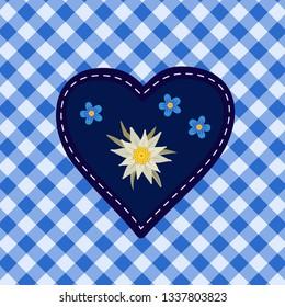 Hand drawn edelweiss flower, heart. Vector symbol of Alps Mountain plant cartoon. Traditional Oktoberfest fair event blue white decorative design element on textured checkered background illustration