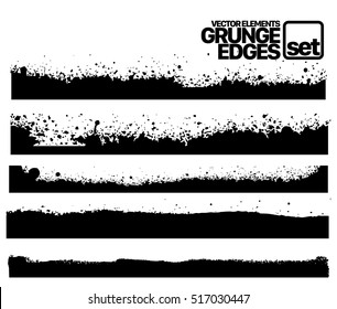 Hand drawn edges pattern background vector illustration set Set of grunge and ink stroke lines. vector template - easy to use
