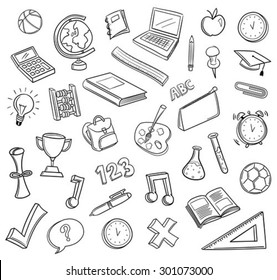Hand drawn education icons vector against white background