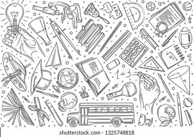 Hand drawn education set doodle vector illustration background