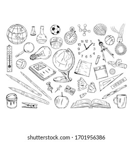 hand drawn educational tools and materials. scribble school equipment. educational equipment
