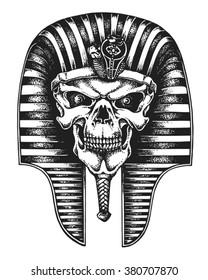 Hand Drawn Egyptian Pharaoh Skull Wearing Nemes Vector Illustration