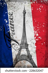 Hand drawn Eiffel Tower. vector illustration.  Eiffel tower and french flag