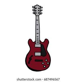 Hand drawn electric guitar