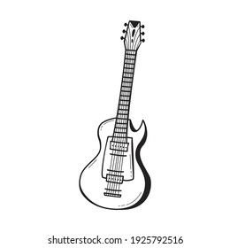 Hand drawn electric guitar icon in doodle style