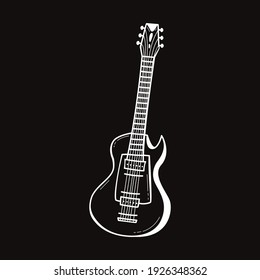 Hand drawn electric guitar icon in doodle style on black background