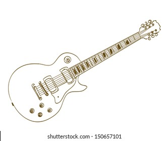 hand drawn electric guitar on white les paul