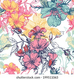Hand  drawn  elegance tender old floral seamless pattern with dog rose motif. All objects are conveniently grouped and are easily editable.